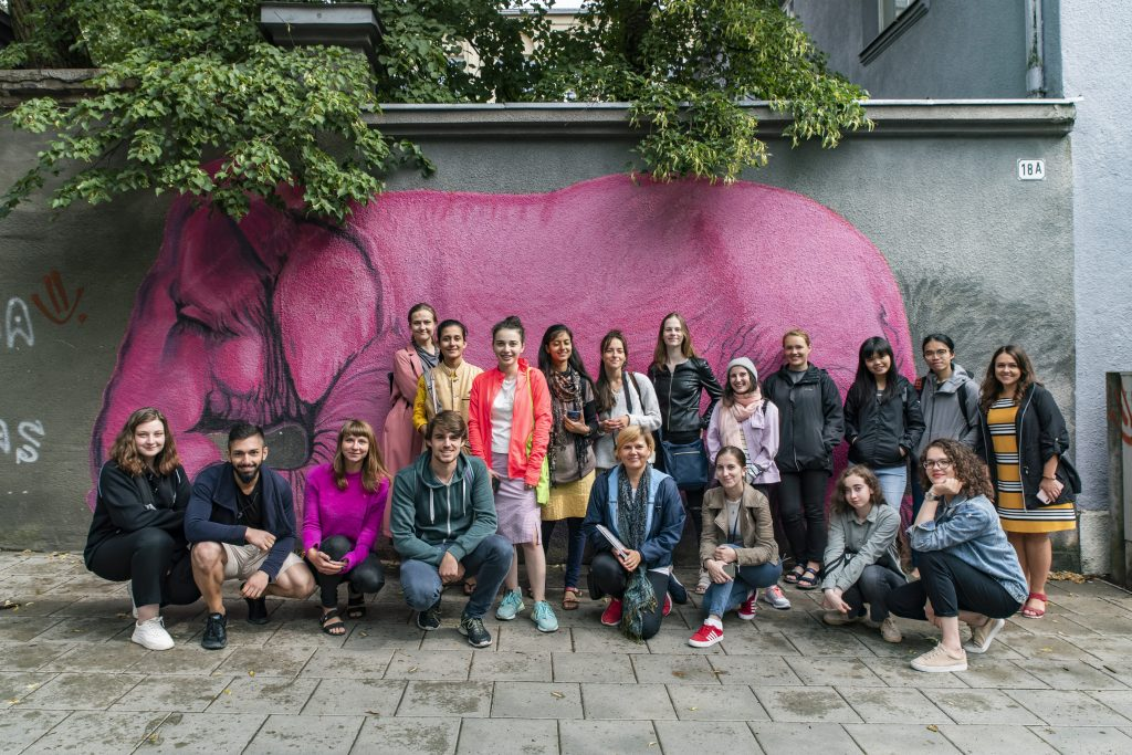 Students and elephant mural