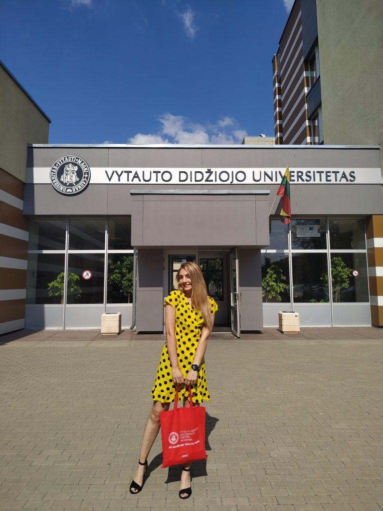 Sophio Tabatadze in front of VDU campus in Vilnius